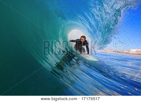 Surfer Gets Epic Tube, View from Inside the Wave