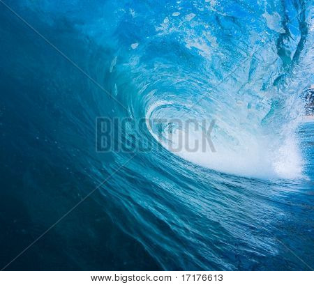 Epic Blue Surfing Wave, View from Inside the Tube