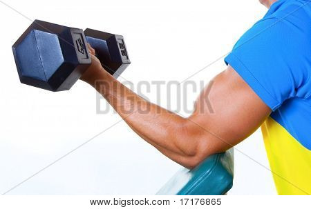 Athletic Male Lifting Weights, Close up of Arm, Isolated on White Background