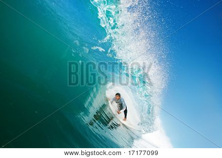 Surfer in the Tube, Big Ocean Wave