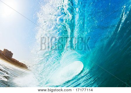 Blue Ocean Wave and Beach, View inside the tube