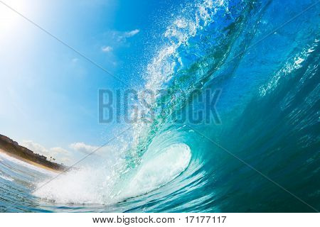 Ocean Wave and Beach, View from in the Water, a Surfers Perspective