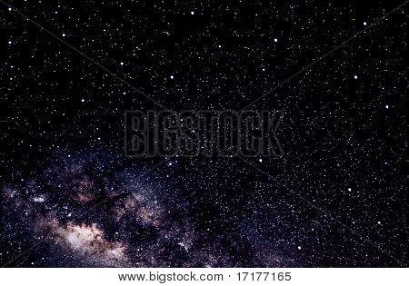 Céu noturno, estrelas brilhantes e Via Láctea