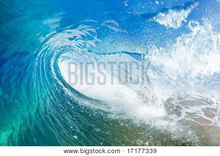 Blue Ocean Wave, View into the Tube from Water Level