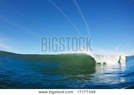 Ocean Wave and Blue Sky, View from Water Level