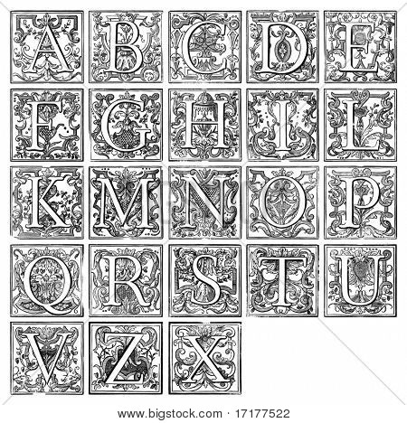 Old decorative alphabet from 16th century