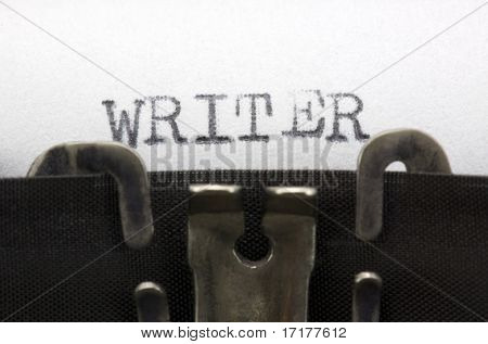 Typewriter closeup shot, concept of writer