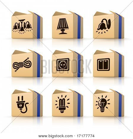 Icons home electric tools in boxes illustration