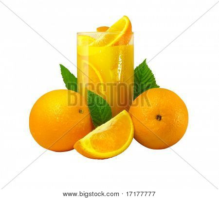 Glass with orange fruits isolated with clipping path