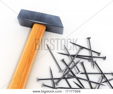 New hammer tool and nails isolated over white background 3d model