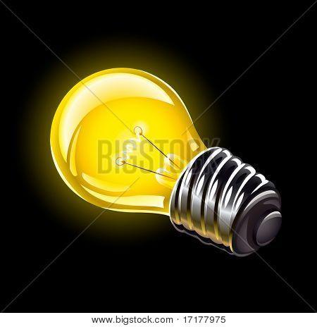 elektrische Lampe Beleuchtung Gerät-Vektor-Illustration auf schwarzem Hintergrund isoliert
