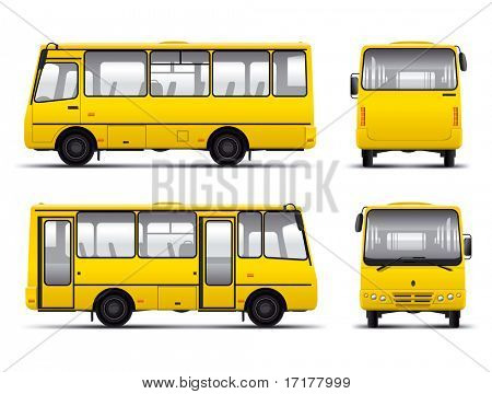 yellow minibus vector draft template isolated over white background