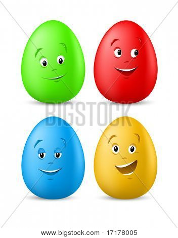 funny coloured easter eggs with happy faces vector illustration for easter holiday