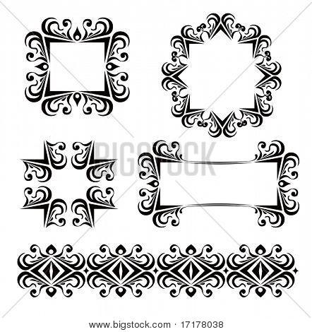 black ornate floral vector frames decoration collection
