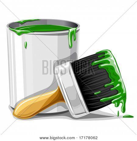vector pincel com tinta verde e ilustração isolada da cubeta