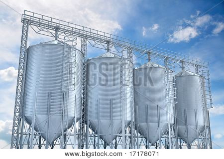 agricultural elevator building for corn storage 3d illustration