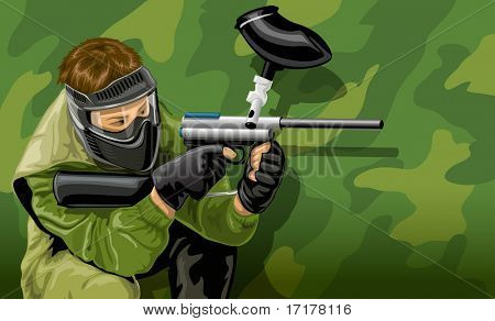 Vektor Illustration Paintball Spieler Schießen