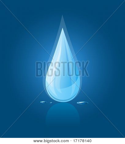vector illustration icon of blue water drop falling