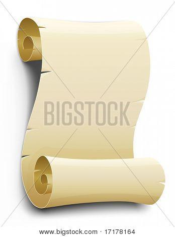 Vector viejo script de papel en blanco, aislado sobre fondo blanco