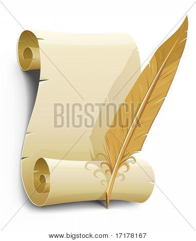 old paper with feather vector illustration illustration isolated on white background