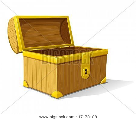 vector old wooden box of treasure opened isolated on white background