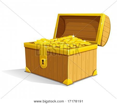 vector old wooden box of treasure with gold money coins opened isolated on white background