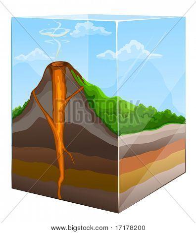 Berg mit Vulkan-Krater-Abschnitt in Glas-Feld-Vektor-illustration
