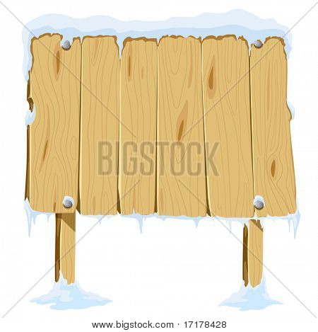 wooden blank board in snow vector illustration