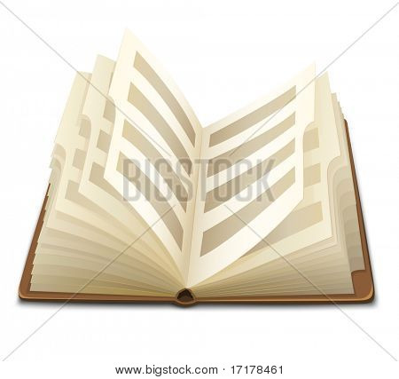 páginas de un libro abierto con la ilustración del vector de texto