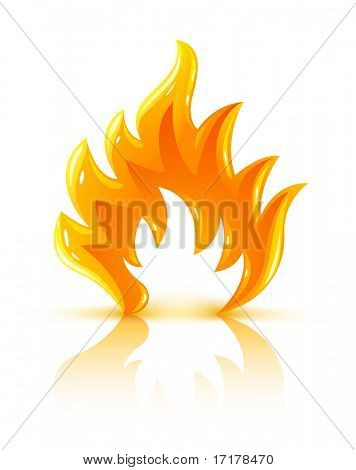 glossy burning fire flame icon vector illustration