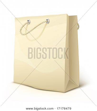 empty paper shopping bag with handles isolated - vector illustration