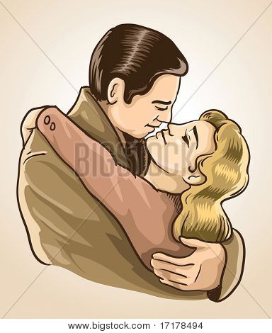 kissing people couple in retro style vector illustration