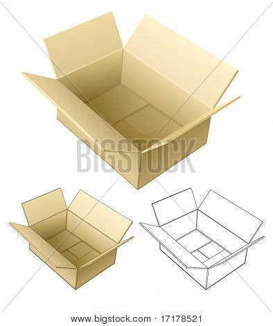 open cardboard box isolated on white - vector illustration