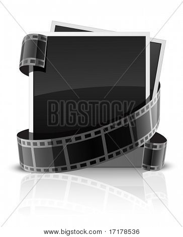 cards for photo shots and camera's tape isolated - vector illustration