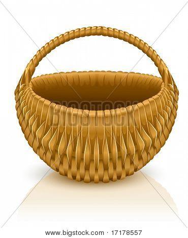 empty basket isolated on white background - vector illustration