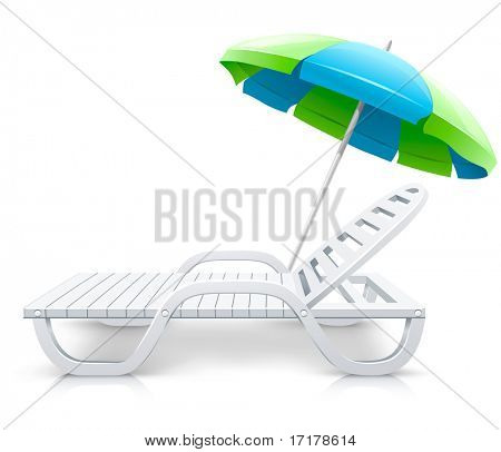 white deck-chair with umbrella beach inventory - vector illustration