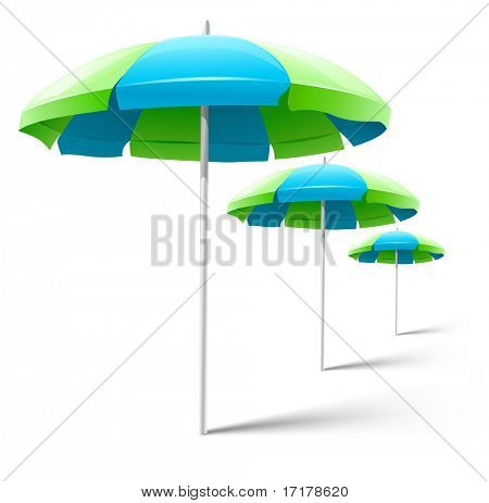 beach umbrellas isolated on white - vector illustration