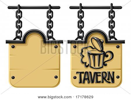 Old blank wooden sign with decorative forging and chain - vector illustration