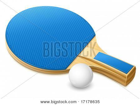 racket and white ball for playing table tennis game - vector illustration