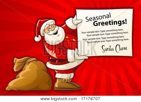 Santa Claus with sack and Christmas greeting paper - vector illustration