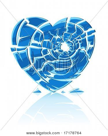 broken blue icy heart - vector illustration