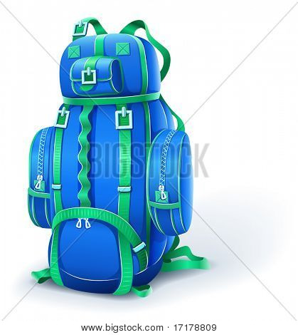 blue big backpack for travel - vector illustration
