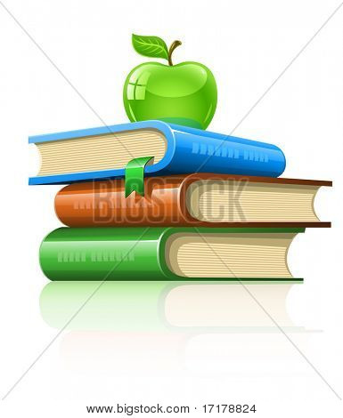 pile book with green apple - vector illustration, isolated on white background