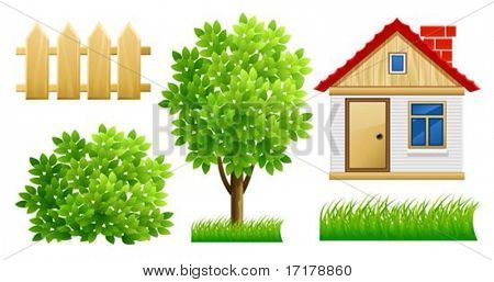 Elemente der grünen Garten mit Haus und Zaun - Vektor-Illustration, isolated on white background
