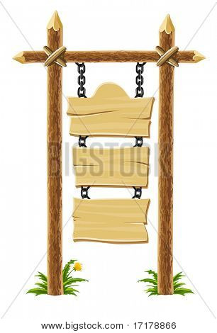 old wooden signboard on post with chain - vector illustration, isolated on white background