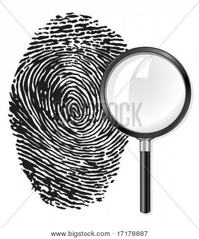 black fingerprint and magnifying glass loupe vector illustration, isolated on white background