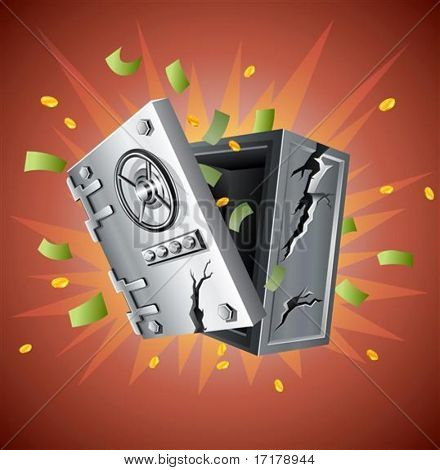 explosion of bank safe with money vector illustration