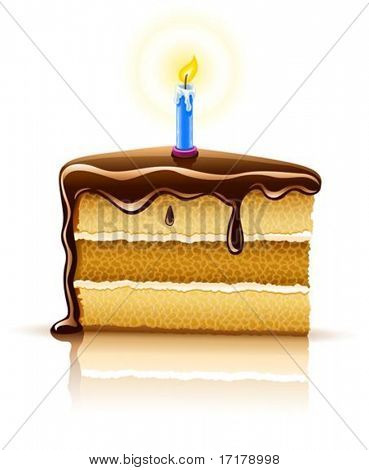 piece of birthday chocolate cake with burning candle vector illustration, isolated on white background