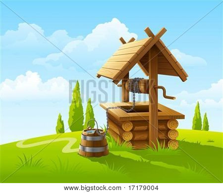 landscape with old wooden well and bucket of water vector illustration