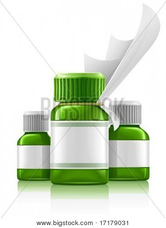 three green medical bottles with medication vector illustration, isolated on white background